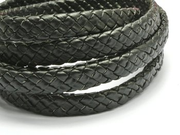 16.4 Feets Black Flat Braided Synthetic Leather Cord 10X4mm