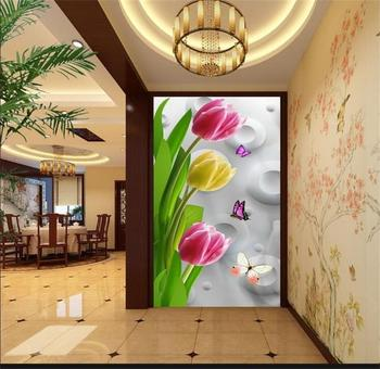 3D porch room photo wallpaper mrual custom HD tulips painting sticker TV sofa background wall Hotel living room Non-Woven mural