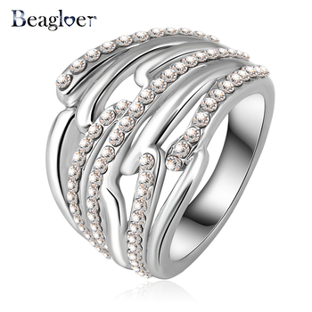 Beagloer Hot Selling Luxury Unique Engagement Rings/Eternity Ring With Austrian Crystals Fashion Punk Jewelry Ri-HQ0145