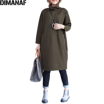 DIMANAF Plus Size Women Dress Solid Cotton Autumn Warm Comfortable Casual Female Fashion Show Thin New Everyday Loose Dresses