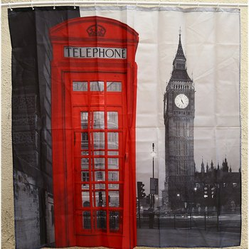 Promotion 1Pcs 180*180cm3D Waterproof Polyester Shower Curtain London Big Ben Patte With 12 Plastic Hooks Home Bathroom Curtains