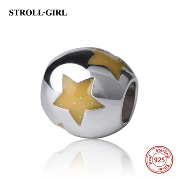 Strollgirl yellow color Star enamel Charms diy Beads silver 925 Fit authentic Pandora charm Bracelets Jewelry making women Gifts