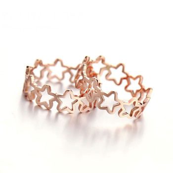 YUN RUO Elegant Hollow Star Ring New Design Titanium Steel Rose Gold Color Fashion Jewelry Women USA Size