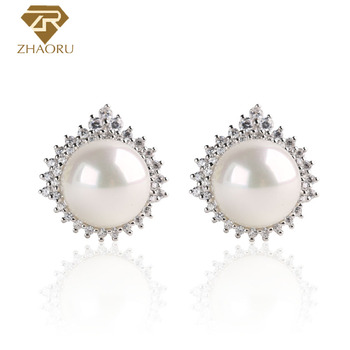ZHAORU Pearl with 925 silver and cubic zirconia Pearl Earrings fashion jewelry ZE0014